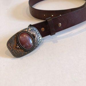 LEATHER brown belt boho western buckle